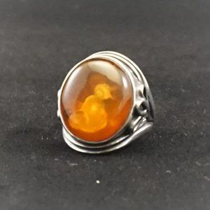 Jewelry - Natural Amber Silver Vintage Ring